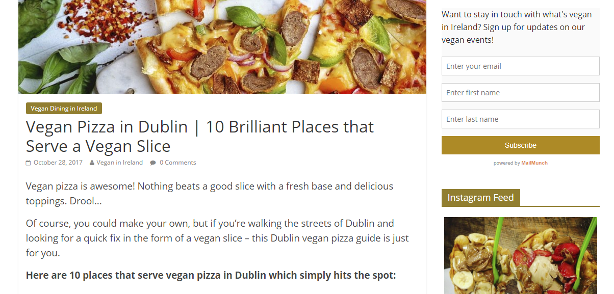 Vegan in Ire blog